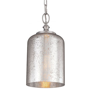 Hounslow Polished Nickel One-Light Mini Pendant with Silver Mercury Plating Glass