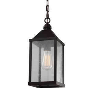 Lumiere Oil Rubbed Bronze One-Light Mini Pendant with Clear Seeded Glass Panel