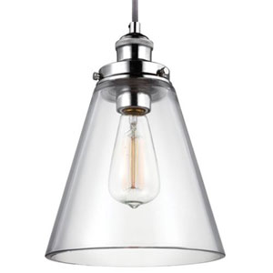 Baskin Polished Nickel One-Light 9-Inch Wide Mini Pendant with Clear Dome Glass