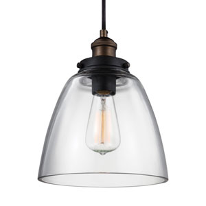 Baskin Painted Aged Brass One-Light 9-Inch Wide Mini Pendant
