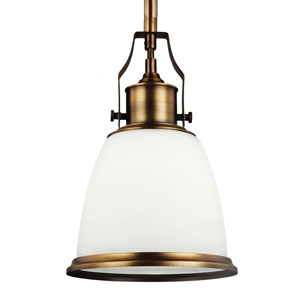 Hobson Aged Brass One-Light 8-Inch Wide Mini Pendant With Opal Glass