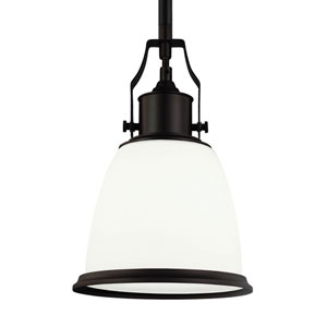 Hobson Oil Rubbed Bronze One-Light 8-Inch Wide Mini Pendant With Opal Glass