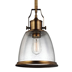 Hobson Aged Brass One-Light 10-Inch Wide Mini Pendant with Clear Seeded Glass