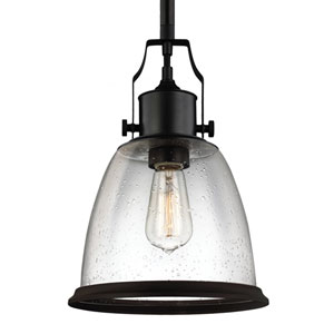 Hobson Oil Rubbed Bronze One-Light 10-Inch Wide Mini Pendant with Clear Seeded Glass