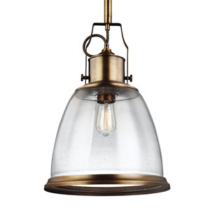 Hobson Aged Brass One-Light Pendant with Clear Seeded Glass