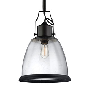 Hobson Oil Rubbed Bronze One-Light Pendant with Clear Seeded Glass