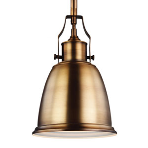 Hobson Aged Brass One-Light 8-Inch Wide Mini Pendant