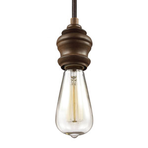 Corddello Weathered Oak One-Light 4-Inch High Mini Pendant