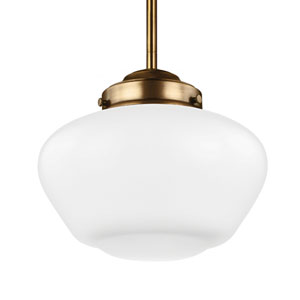 Alcott Aged Brass One-Light 10-Inch Wide Integrated LED Wide Pendant with Opal Glass