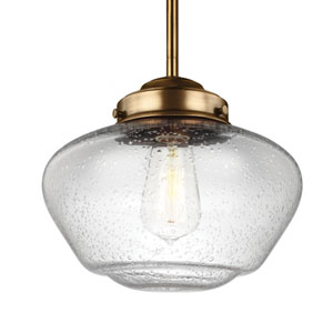 Alcott Aged Brass One-Light 10-Inch Wide Integrated LED Wide Pendant with Clear Seeded Glass