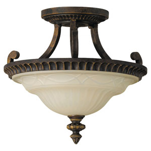 Drawing Room Walnut Two-Light Semi-Flush Ceiling Light