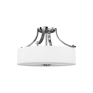 Sunset Drive Chrome Three-Light Semi-Flush Mount