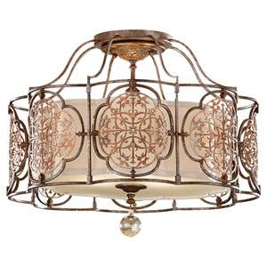 Marcella British Bronze/Oxidized Bronze Three-Light Semi-Flush