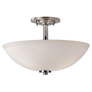 Malibu Polished Nickel Three Light Semi-Flush Fixture with Opal Etched Glass
