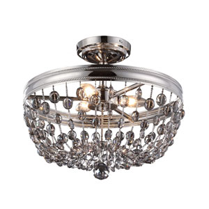 Malia Polished Nickel Three-Light Semi Flush Mount