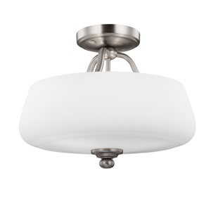 Vintner Satin Nickel Three-Light Semi-Flushmount
