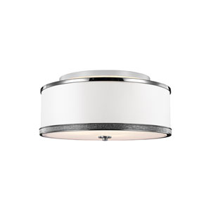 Pave Polished Nickel Three-Light Ceiling Fixture