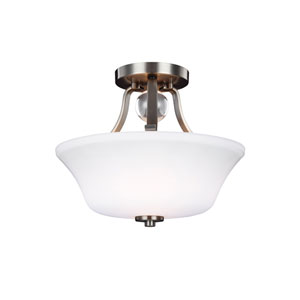 Evington Satin Nickel Two-Light Ceiling Fixture