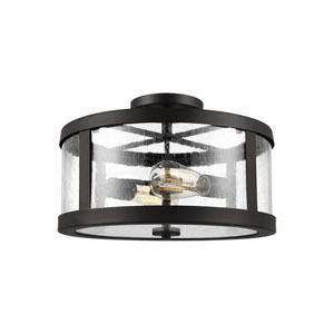 Harrow Oil Rubbed Bronze 15-Inch Two-Light Semi-Flush Mount