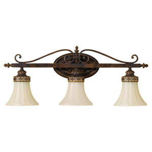 Drawing Room Walnut Three-Light Bath Fixture