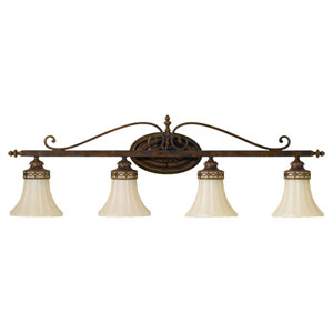 Drawing Room Walnut Four-Light  Bath Fixture