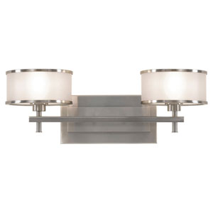 Casual Luxury Brushed Steel Two-Light Bath Light