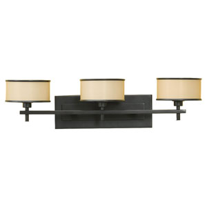 Casual Luxury Dark Bronze Three-Light Vanity Fixture