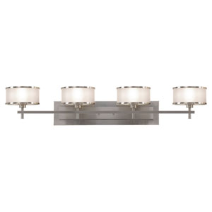 Casual Luxury Brushed Steel Four-Light Bath Fixture