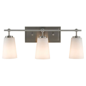 Sunset Drive Brushed Steel Three-Light Bath Light