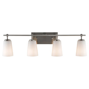 Sunset Drive Brushed Steel Four-Light Bath Fixture