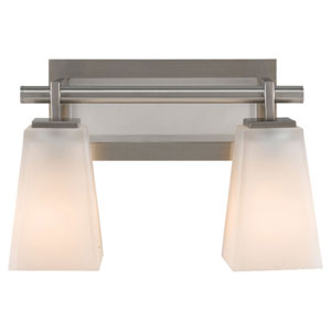 Clayton Brushed Steel Two-Light Bath Light