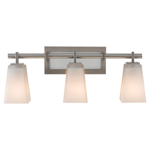 Clayton Brushed Steel Three-Light Bath Light