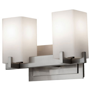 Riva Brushed Steel Two-Light Bath Fixture