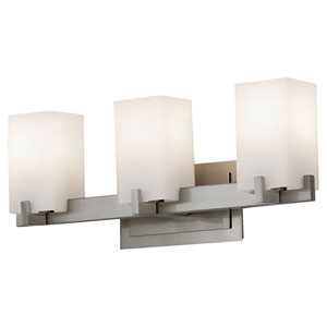 Riva Brushed Steel Three-Light Bath Fixture