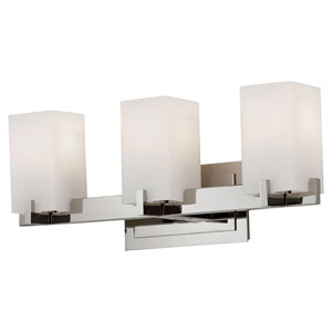 Riva Polished Nickel Three-Light Bath Fixture