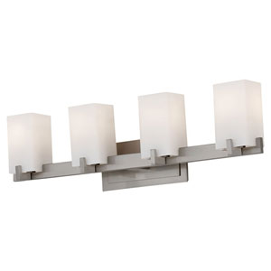 Riva Brushed Steel Four-Light Bath Fixture