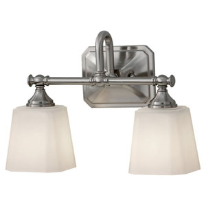 Concord Brushed Steel Two-Light Vanity Light