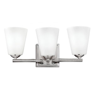 Pave Polished Nickel Three-Light Bath Fixture