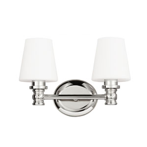 Xavierre Polished Nickel Two-Light Bath Fixture