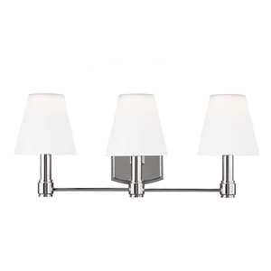 Leddington Polished Nickel Three-Light Bath Fixture