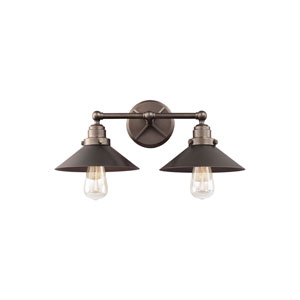 Hooper Antique Bronze Two-Light Wall Bath Fixture