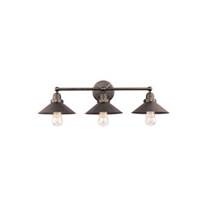 Hooper Antique Bronze Three-Light Wall Bath Fixture