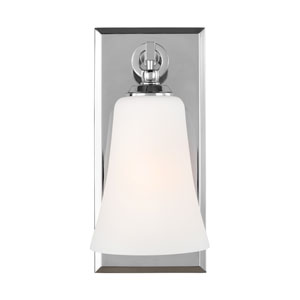 Monterro Chrome 5-Inch One-Light Wall Bath Fixture with White Opal Etched Glass