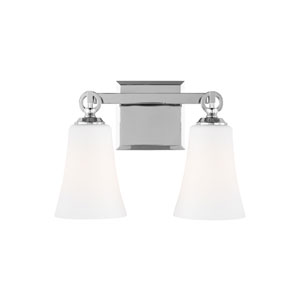 Monterro Chrome 14-Inch Two-Light Wall Bath Fixture with White Opal Etched Glass