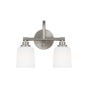 Reiser Satin Nickel Two-Light Wall Bath Fixture
