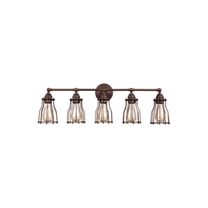 Calgary Parisian Bronze Five-Light Wall Bath Fixture