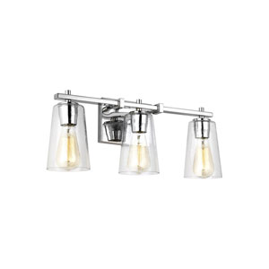 Mercer Chrome 22-Inch Three-Light Bath Light