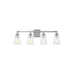 Monterro Chrome 30-Inch Four-Light Wall Bath Fixture with Clear Seeded Glass