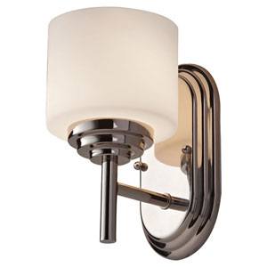 Malibu Polished Nickel One Light Vanity Fixture with Opal Etched Glass