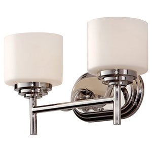 Malibu Polished Nickel Two Light Vanity Strip with Opal Etched Glass